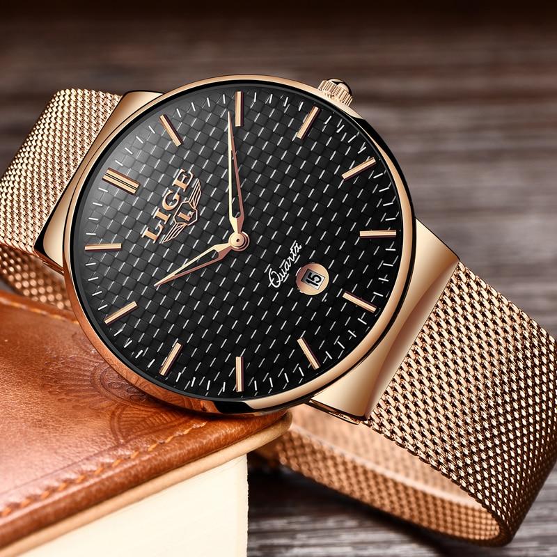 gave Ny LIGE cool Minimalistisk stil armbåndsur Rustfrit stål - Mænds ure - Foto 3