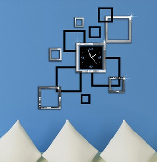 home decoration mirror effect ring wall clock modern. Black Bedroom Furniture Sets. Home Design Ideas