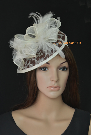 2017 New Cream Brown Leopard Print Feather Sinamay Fascinator Hat For Wedding Ascot Races