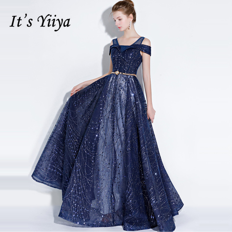 It's Yiiya Formal   Evening     Dresses   Bling Sequined Fashion Designer Floor length A-line Elegant Formal   Dress   LX1094