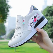 Women's casual shoes 2019 foreign gas spring and summer breathable mesh red wild wedges with increased shoes women s casual shoes 2019 foreign gas spring and summer breathable mesh red wild wedges with increased shoes