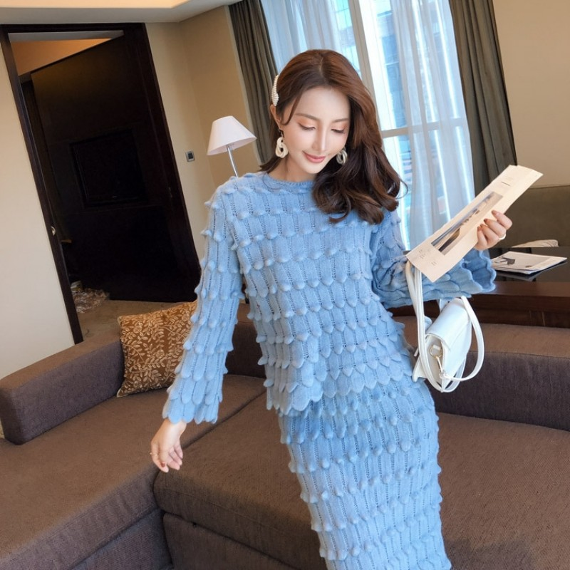 O Costumes De Sirène Dames Décontracté cou Élégant blue Manches Khaki 2019 Mode Volants À Jupe Pétale Femmes Chandails Hiver Longues Lot Nouveau Et Vêtements qWSzIHE