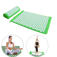 High Quality Acupressure Massager Cushion Shakti Mat Relieve Back Body Pain Spike Mat Acupuncture Massage Yoga Mat with Pillow