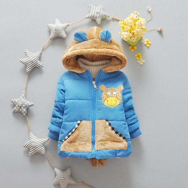 Venda quente 6-24 M Bebê Menino Casaco de Inverno Bonito Do Bebê Urso meninas Jaqueta Crianças Outerwear Roupas para Meninos Roupas de Inverno para meninas