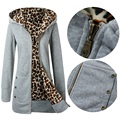 Estilo Euramerican espessamento e veludo S-XXXL plus size mulheres de lã outono/inverno a nova moda com capuz jaqueta casaco de leopardo