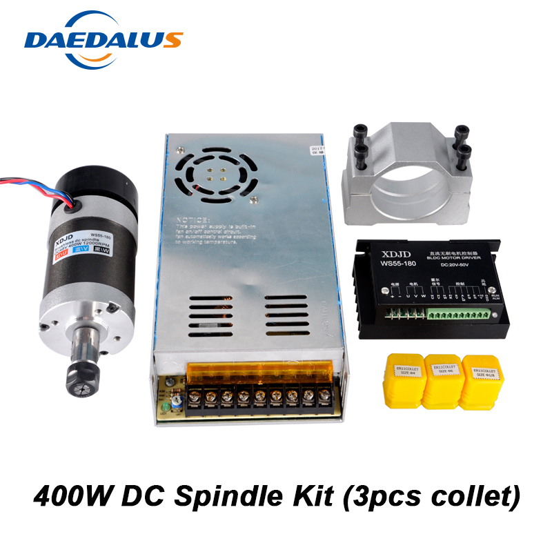 цены на CNC Spindle Brushless 400W ER11 Collet Spindle Motor + Switching Power Supply + Motor Driver + 55MM Clamp + 3pcs ER11 Collet в интернет-магазинах