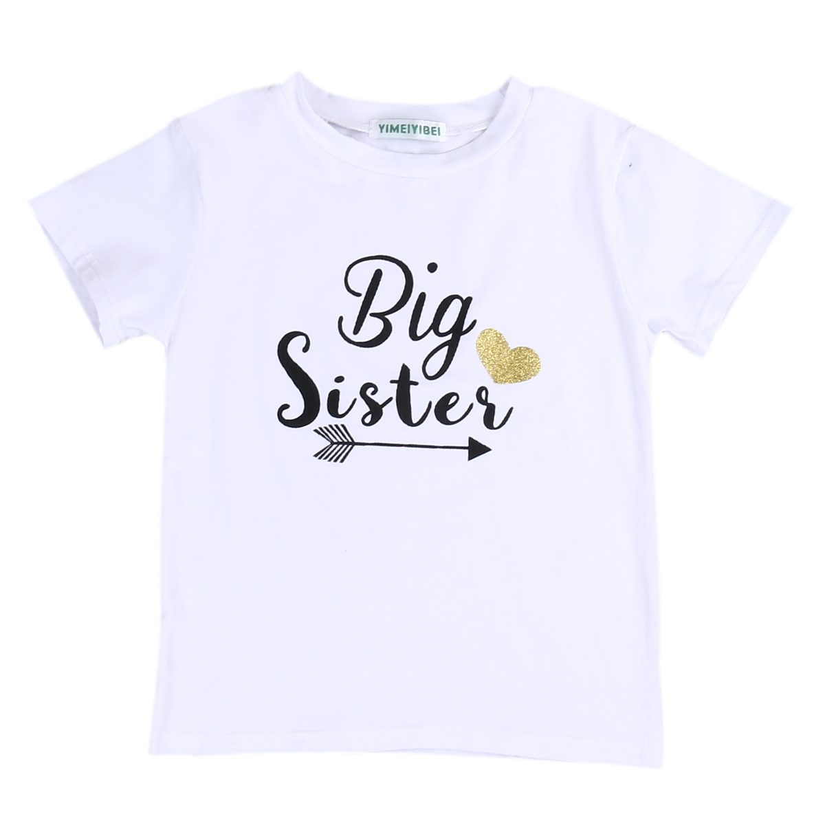 2017 New Cute Fashion Toddler Kids Baby Clothes Big Sister Short Sleeve Cotton T shirt font