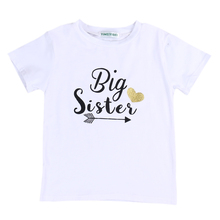 2017 New Cute Fashion Toddler Kids Baby Clothes Big Sister Short Sleeve Cotton T-shirt Tops 2-7Y Child T-Shirts Casual Clothing