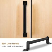 Heavy Duty Barn Door Handle w/ Screw Carbon Steel Pull Handle for Sliding Barn Door Closet Wooden Gate Hardware Accessories 2 pcs 11 inch sliding barn door handle vintage heavy duty pull set for gate kitchen furniture cabinet closet drawer screws inclu