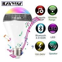 חכם Bluetooth 4.0 אודיו רמקולים המנורה ניתן לעמעום E27 הנורה RGB הנורה LED מוסיקה אלחוטית אור שינוי צבע באמצעות WiFi App שליטה