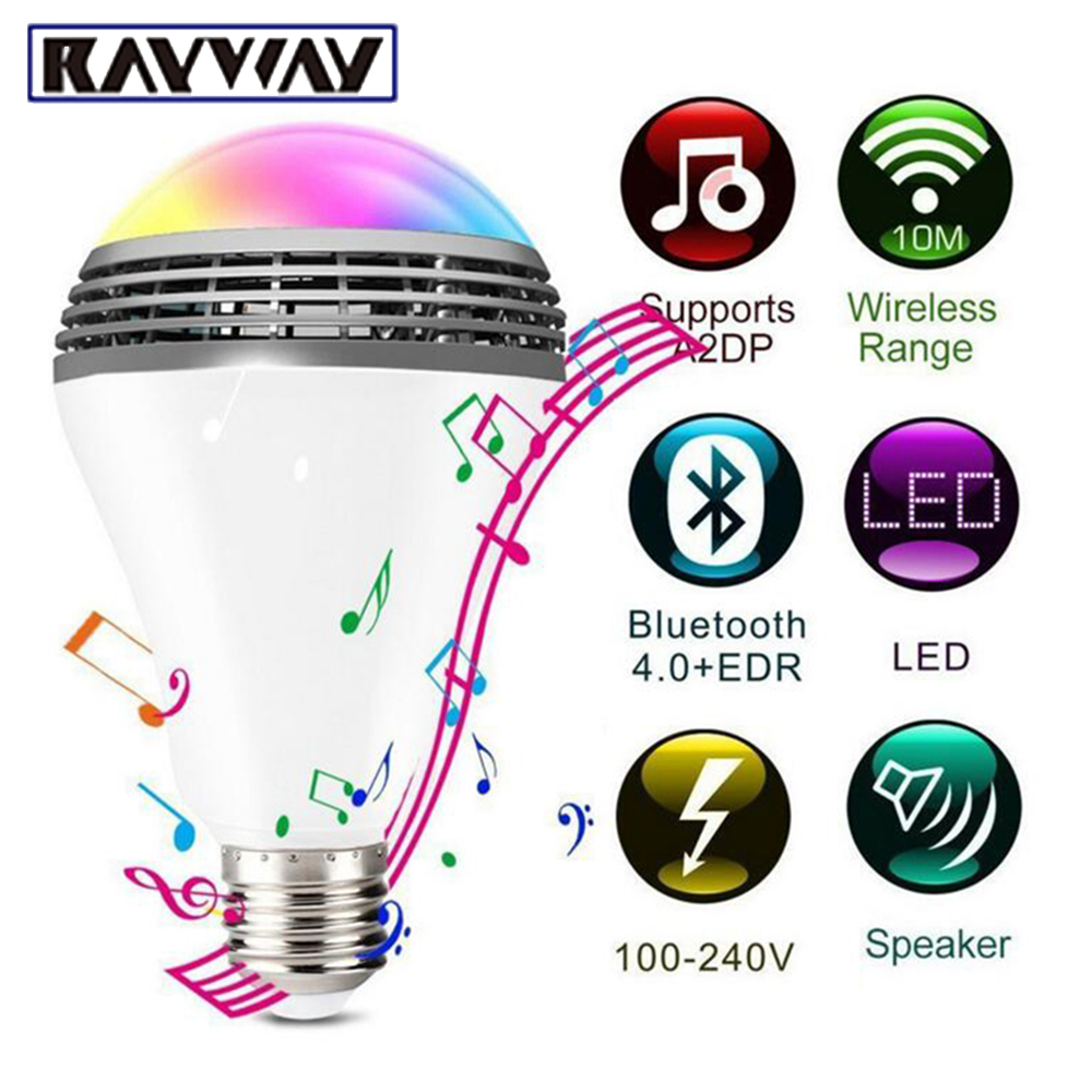 New Smart Wireless Bluetooth 4.0 Audio Speakers Lamp Dimmable E27 LED RGB Light Music Bulb Color Changing via WiFi App Control 2017 hot bluetooth multi function audio intelligent family host background music system lcd screen touch light dimmer 2 speakers