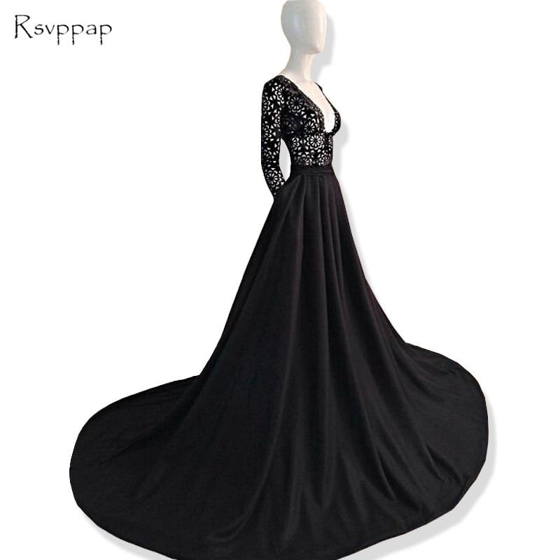 Long   Prom     Dresses   2019 Elegant V-neck Long Sleeve Lace A-line African Satin Black   Prom     Dress   Party