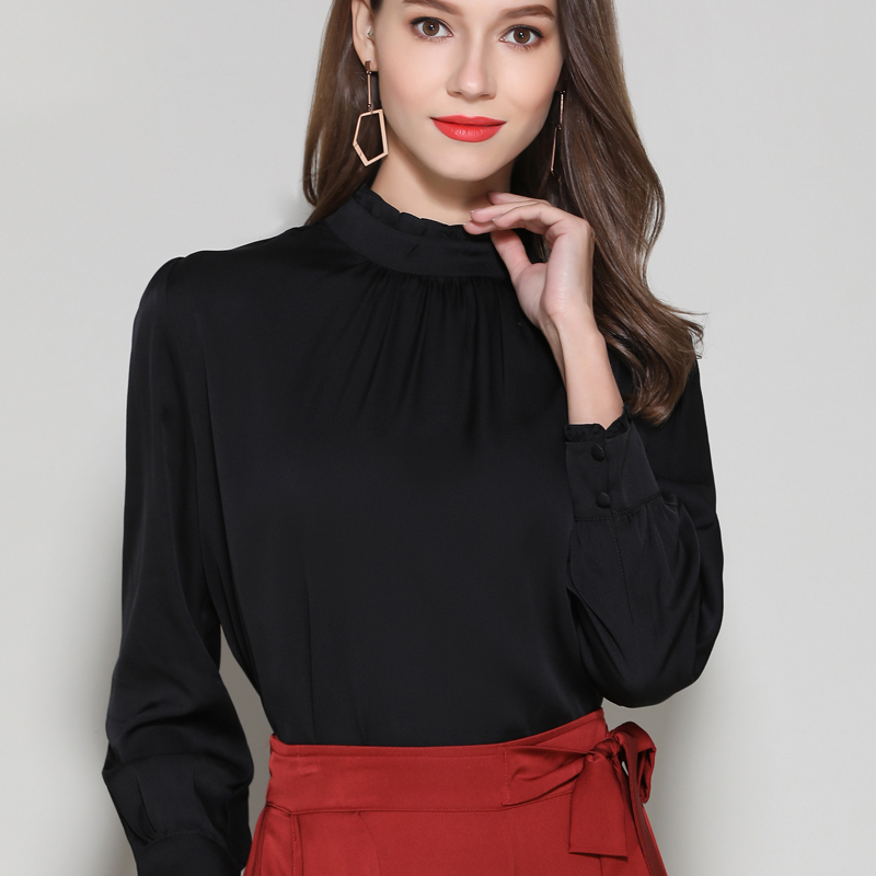 Silk Stain full sleeve Blouses shirts elegant white office lady work fashion solid silk shirts blouse tops summer Woman 2019 - 2