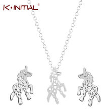 Kinitial Cute Unicorn Horse Charm Pendant Necklace Stud Earrings Jewelry Sets for Women Girls Kids Children Gift(China)