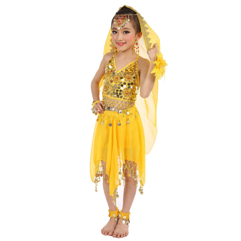 colors Belly Dance Costumes Kids New Style Child Belly Dancing Girls Bollywood Indian Performance Cloth Dress 6pcs set in Belly Dancing from Novelty Special Use