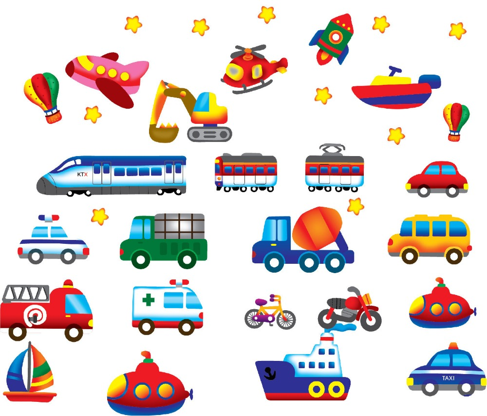 Cartoon Autos Lkw Fahrzeuge Wandtattoos Aufkleber Kinder
