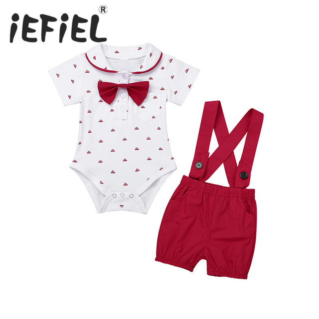 Newborn Toddler Infant Baby Boys Party 1ST Birthday Outfit Short Sleeve  Lapel Bowtie Romper Jumpsuit with Suspender Shorts Set e06c1b923429