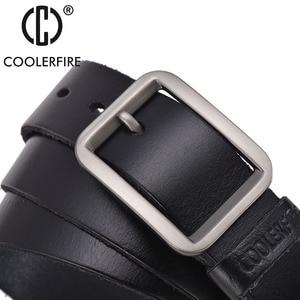 Image 2 - יוקרה חגורת גברים של חגורות הראשים אבזם איש של אמיתי עור רצועת עבור ז אן באיכות גבוהה רחב חום צבע אופנה JTC012