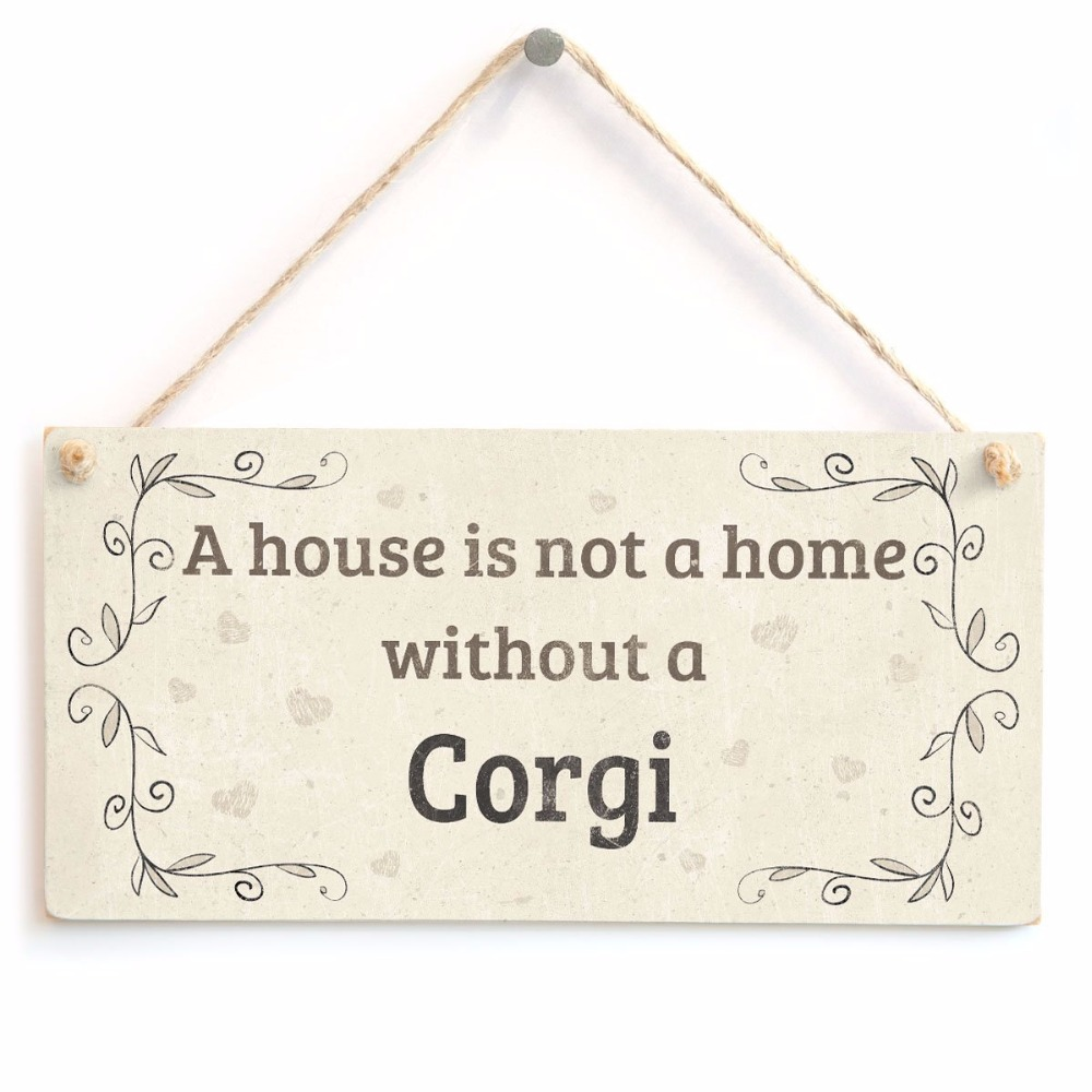 Meijiafei A House Is Not A Home Without A Corgi Rustic Style Dog Sign/plaque 10x5 Plaques & Signs Home Decor