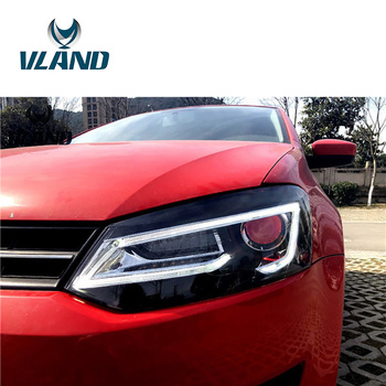 VLAND Factory For Car Head Lamp For Polo LED Headlight 2012-2016 LED Head Light With Flashing Indicator And BI Xenon Lens