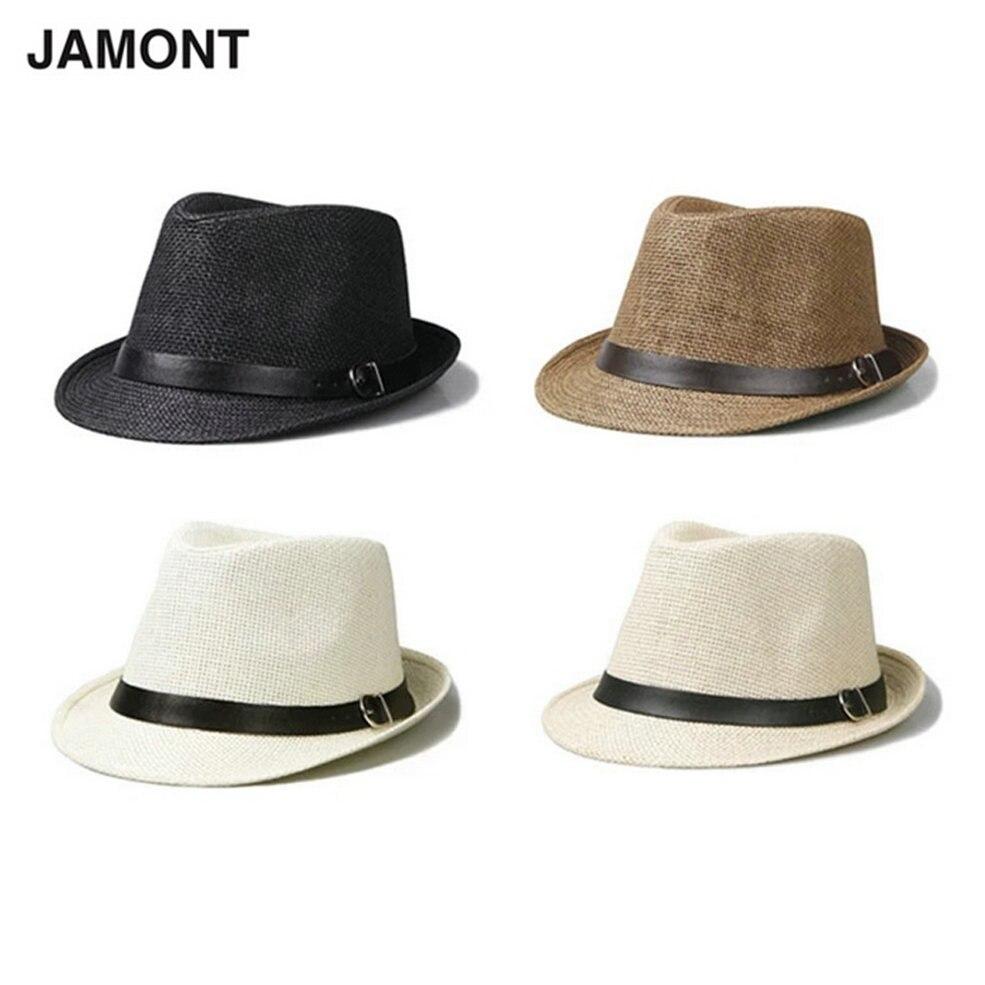 Leisure Unisex Beach Staw Sun Hats Stylish Women Men Panama Jazz Hats Cowboy Gangster Cap with Black Belt 2017 Hot Sales Caps