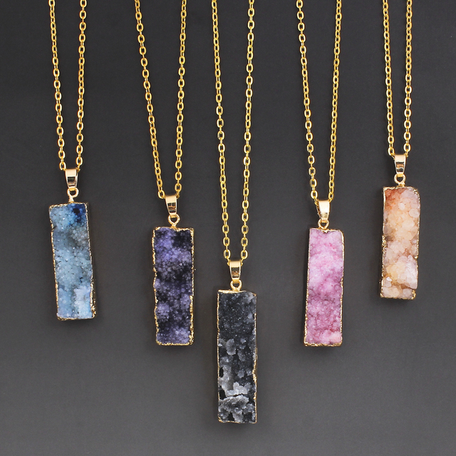 Druzy Necklace Quartz with Iron Rectangle natural style oval chain 12x44x12mm-14x50x13mm Approx 18 Inch Strand