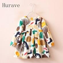 Hurave long Sleeve Girls Dress 2017 Cotton Pattern Baby Dress Rabbit Tree Dress Princess Kids Toddler