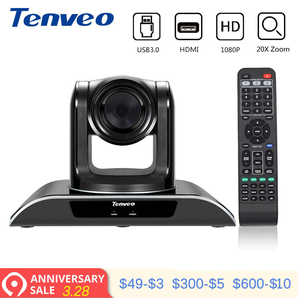 Tenveo VHD203U 1920x1080 Full HD Caméscope PTZ Vidéo D'appeler et D'enregistrement avec 20X Zoom USB 3.0 sortie hdmi Flux webcam