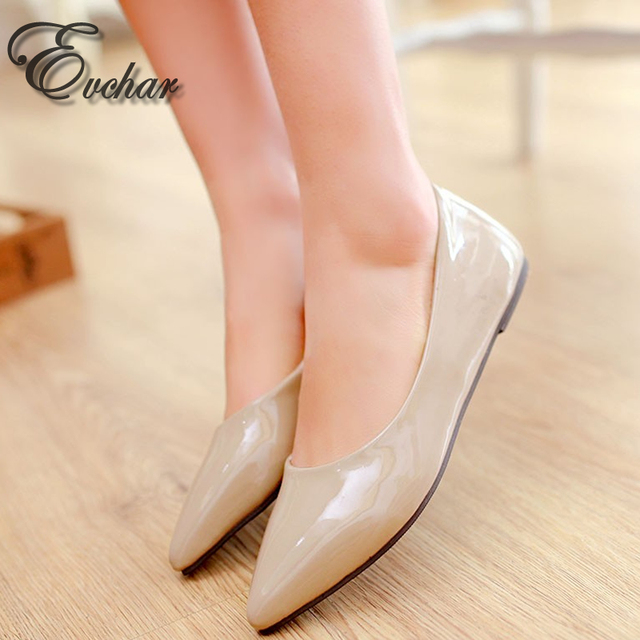 new fashion style pointed toe women's shoes flats  solid flat shoes woman candy color ballet shoes plus big size 32-43