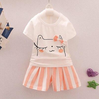 cute cat print t shirt+stripe skirt 2pcs children clothing set summer new casual girls clothes suit 2-7T turkey ropa 2 color