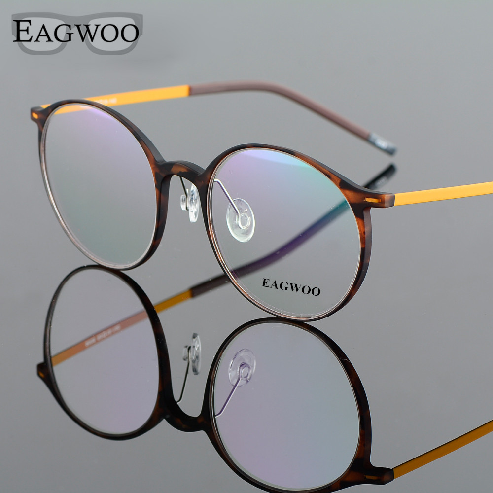 EAGWOO EMS Pure Titanium Eyeglasses Stor Retro Harry Potter Optisk Ram Sköldpadda Vintage Nerd Spectacle Round Glasses 890082