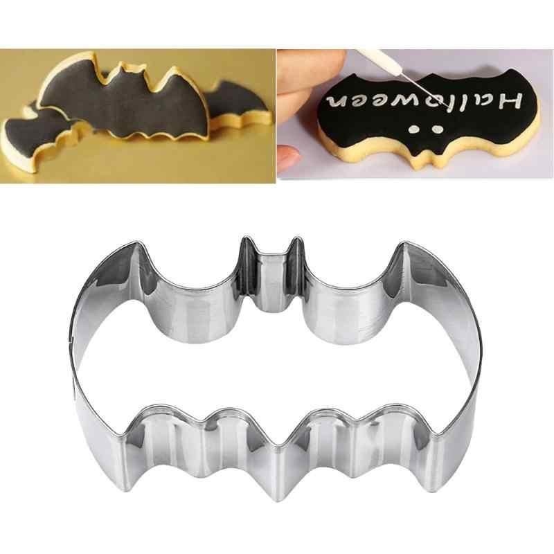 Stainless Steel Bat Batman Bentuk Biscuit Cookie Cutter Alat Cetakan Kue Halloween Natal Dekorasi Perlengkapan Dapur