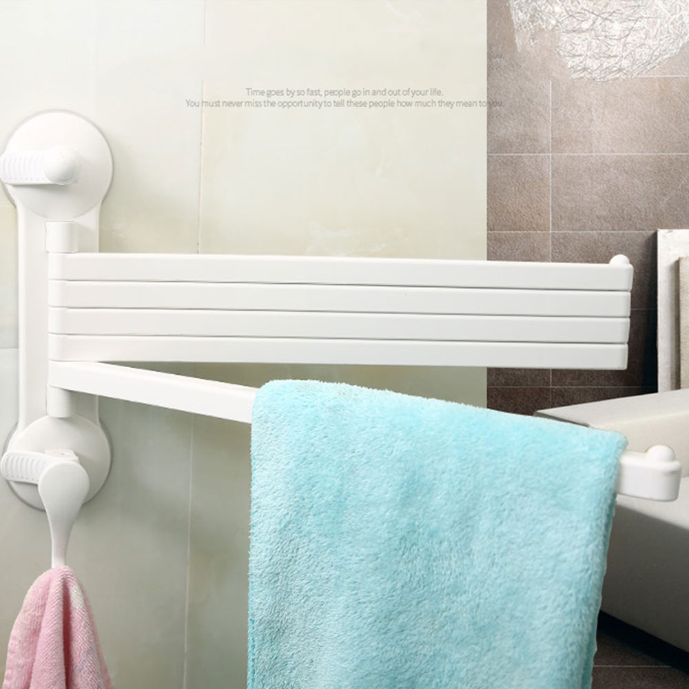 5 Bar Plastic Swing Out towel Bar holder with hook Wall Mount ...