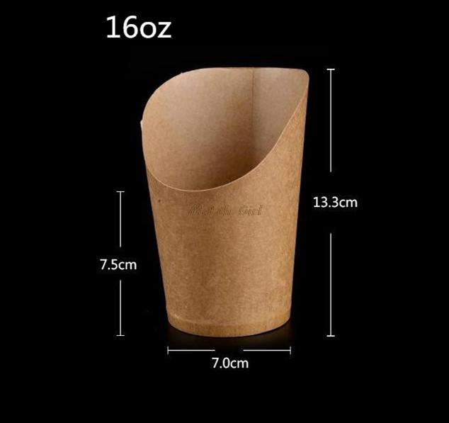 100pcs/lot-7x7.5x13.3cm 16oz Disposable white kraft paper french fries cup Fried Chicken Wings Popcorn Dessert storage Box