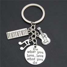 1pc Piano Teacher Keychains Musical Keyring Pianist Gift Music Note Guitar Charms For Handmade Jewelry Do What You Love E2039(China)