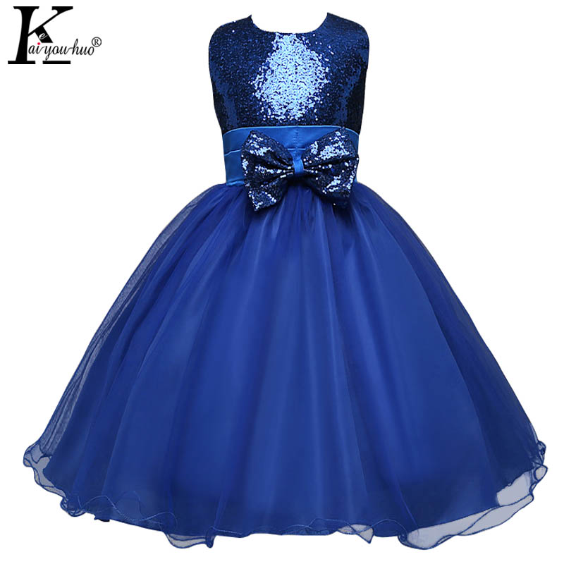 KEAIYOUHUO Summer Women Dress Wedding Chiffon Vestidos Bowknot Sequins Princess Dresses Sleeveless Fashion Party Girls Clothing