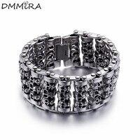 Fashion Punk Cool Men's Skeleton Watch Strap Bracelet Retro Silver Black Stainless Steel Wide Retro Skull Bracelets Jewelry