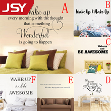 Jiangs Yu 1 PC Wake up Make up Wall Sticker Fashion PVC Wall Stickers For Living Room Bedroom Home Decor Wall Decals недорго, оригинальная цена
