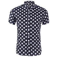 Мужская рубашка, новая мода, Хлопковая мужская рубашка с коротким рукавом, повседневная мужская рубашка в горошек 3,29