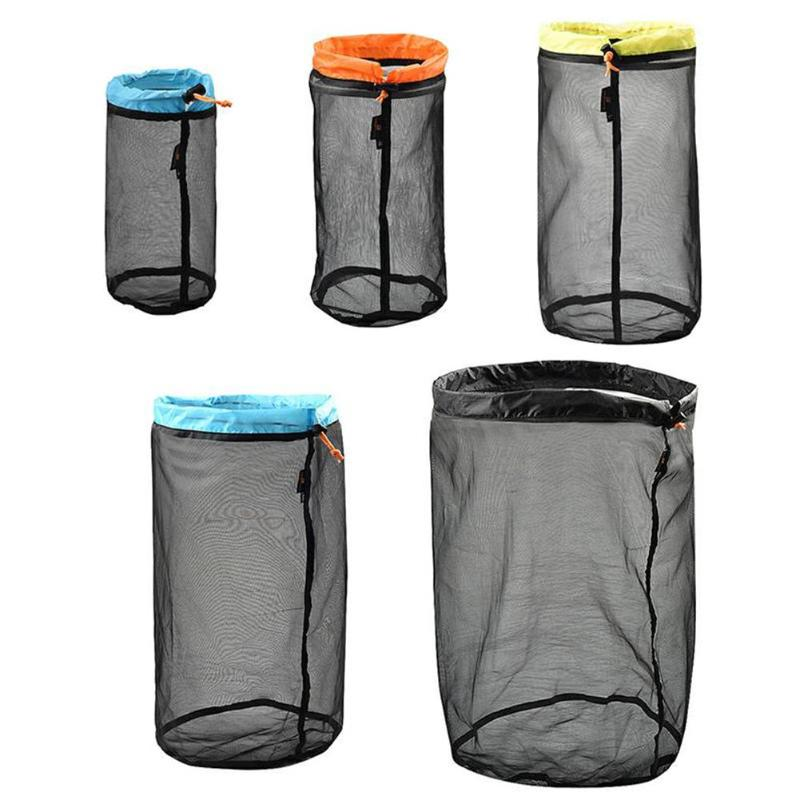 1pc Outdoor Mesh Stuff Sack Ultralight Camping Sport Drawstring Storage Bag 2019 5 Sizes Multi-function Camping And Hiking Tools