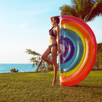 190cm Inflatable Rainbow Giant Colorful Mattress Swimming Pool Float Beach Bed Sunbathe Mat Swim Raft for Adult Water Party Toys
