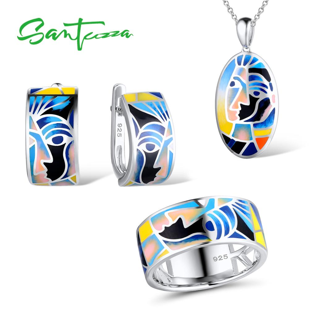 SANTUZZA Jewelry Set For Woman Genuine 925 Sterling Silver Face Ring Earrings Pendant Chic Jewelry Set Colorful HANDMADE Enamel