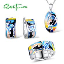 SANTUZZA Jewelry Set For Woman Genuine 925 Sterling Silver Face Ring Earrings Pendant Chic Colorful HANDMADE Enamel
