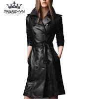 Tnlnzhyn 2017Autumn Winter Women Leather Jacket Double Breasted Coat Pu Faux Leather Jacket Medium Long Trench