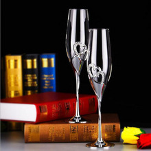 NEW 2pcs/Set 200ML Long Wedding Champagne Wine Glasses Crystal Silver Plated Toasting Flutes Cup for Party Decoration ZA3047