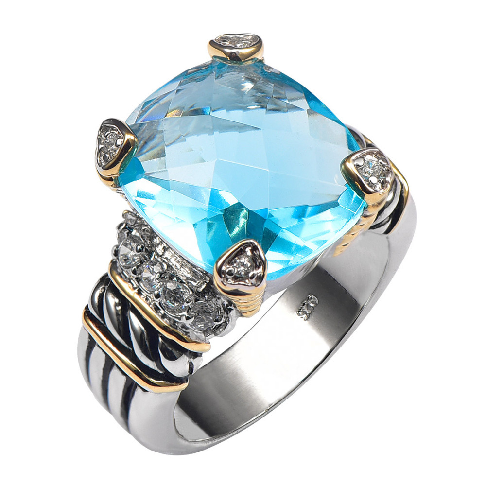 Simulated Aquamarine 925 Sterling Silver High Quantity Ring For Men and Women Size 6 7 8 9 10 F1338