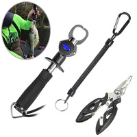 Fish Lip Gripper Grabber with Scale+Fish Lanyards Hook+Fishing Pliers Scissors Fishing Tool Kit YS-BUY