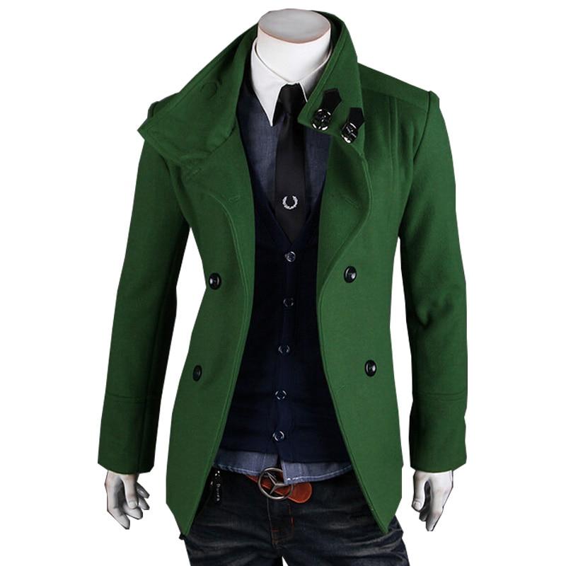 2015 Heißer Verkauf Herbst Winter Wollmantel Mens Zweireiher Trenchcoat Jacke Oberbekleidung Mäntel Mit Den Modernsten GeräTen Und Techniken