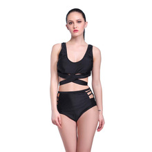 Promotion 2016 victoria plus size retro female high waist muslim push up bandage open cups bow with skirt monokini swimsuit