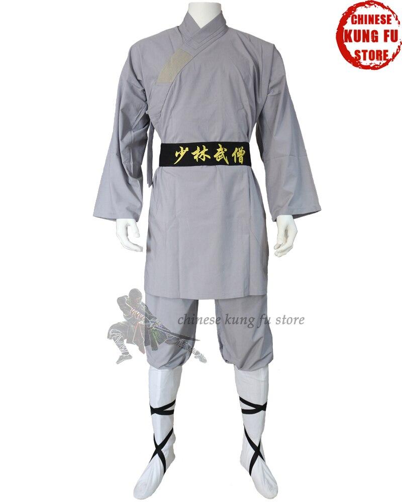 Beautiful Gray Cotton Shaolin Monk Kung fu Uniforms Tai chi Martial arts Wing Chun Wushu Suit